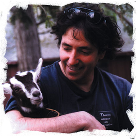 Michael Gulezian with baby goat